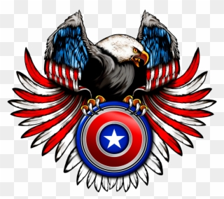 Eagle Round Shield Crest Red White And Blue Eagle Shield Clipart