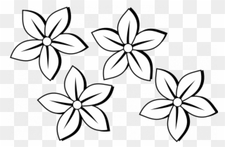 Flower black and white coloring. Free png clip art