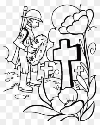 A Visit To The Tomb On Memorial Day Coloring For Kids Remembrance Day Coloring Pages Clipart Full Size Clipart 1758010 Pinclipart