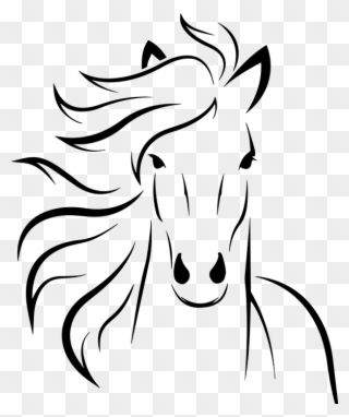 Silhouette Horse Head Clipart Black And White