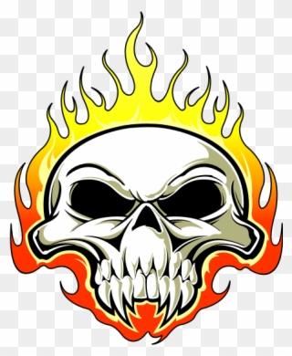 Tete De Mort Feu Orange Png Logos Fire Skull Clipart