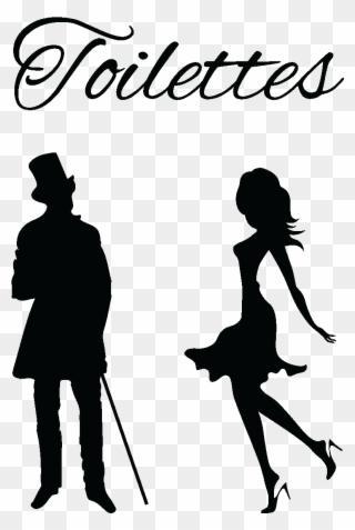 Sticker Porte Toilettes Silhouettes Homme Et Femme Clipart Full Size Clipart 2295486 Pinclipart