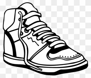5d172894e7e Black And White High Sneakers Clipart - Sport Shoes Clip Art - Png Download