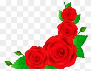 Border rose. Clipart red corner png