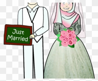 Muslim Wedding Cartoon Portrait Cartoon Couple Wedding Muslim Png File Clipart Full Size Clipart 27972 Pinclipart