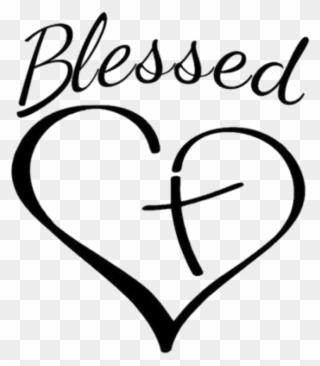 98a34e58521d0 Blessed Sticker - Cross And Heart Clipart (#3576198) - PinClipart