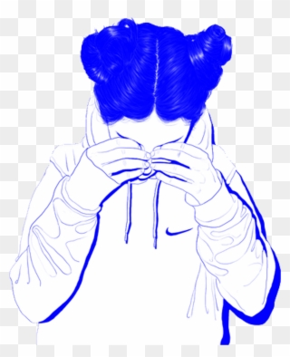 Tumblr Girl Aesthetic Blue Sad Vaporwave Cute Blue Aesthetic Human Png Clipart Full Size Clipart 3663801 Pinclipart