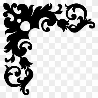 Black floral design border — 2