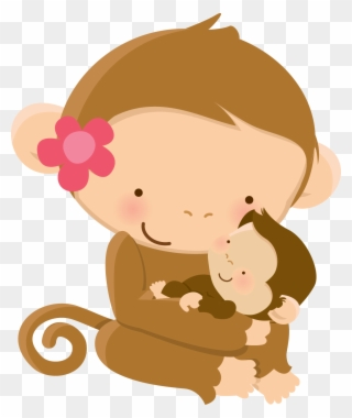 Cute Animal Clipart Mother S Day Clip Art Cartoon Mother Monkey And Baby Cartoon Png Download 56341 Pinclipart