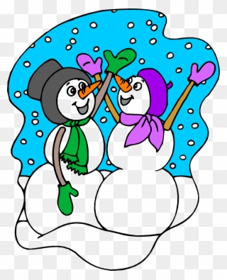 Snow weather. Happy snowman sisters snowy