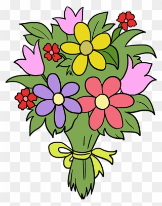 How To Draw Flower Bouquet , Easy Flower Bouquet Drawing