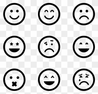Emoticon Icon Packs Vector Svg Psd - Emotion Clipart Black